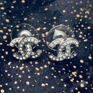 Chanel Classic Silver Crystal CC Stud Earrings